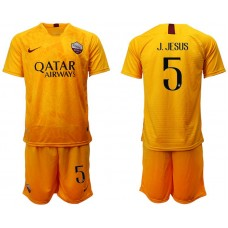 Men 2018-2019 club Rome Second away 5 yellow soccer jersey