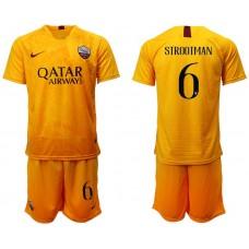 Men 2018-2019 club Rome Second away 6 yellow soccer jersey