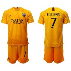 Men 2018-2019 club Rome Second away 7 yellow soccer jersey