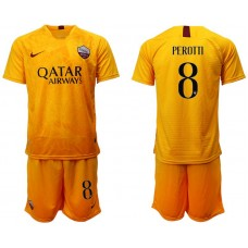 Men 2018-2019 club Rome Second away 8 yellow soccer jersey