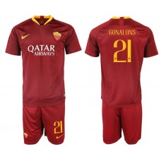Men 2018-2019 club Rome home 21 red soccer jersey