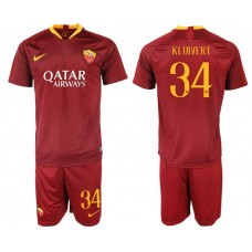 Men 2018-2019 club Rome home 34 red soccer jersey
