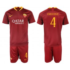 Men 2018-2019 club Rome home 4 red soccer jersey