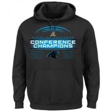 Men Carolina Panthers Majestic 2015 NFC Conference Champions Supreme Ruler VIII Pullover Hoodie Black
