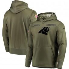 Men Carolina Panthers Nike Olive Salute To Service KO Performance Hoodie Green