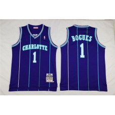 Men Charlotte Hornets 1 Bogues Purple Throwback Stitched NBA Jersey