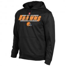 Men Cleveland Browns Historic Logo Majestic Synthetic Hoodie Sweatshirt  Black
