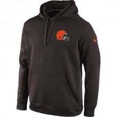 Men Cleveland Browns Historic Logo Nike KO Chain Fleece Pullover Performance Hoodie  Brown