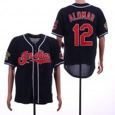 Men Cleveland Indians 12 Alomar Blue Throwback MLB Jerseys