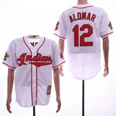 Men Cleveland Indians 12 Alomar White Throwback MLB Jerseys