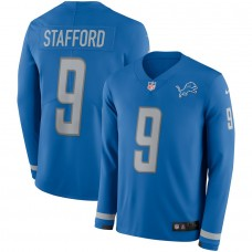 Men Detroit Lions 9 Stafford blue Limited NFL Nike Therma Long Sleeve Jersey