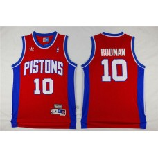 Men Detroit Pistons 10 Rodman Red Throwback Stitched NBA Jersey