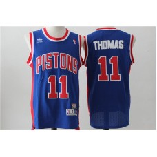 Men Detroit Pistons 11 Thomas Blue Throwback Stitched NBA Jersey