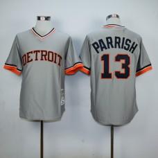 Men Detroit Tigers 13 Parrish Grey Throwback MLB Jerseys