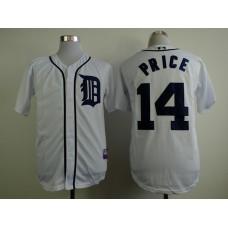 Men Detroit Tigers 14 Price White MLB Jerseys1
