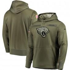 Men Jacksonville Jaguars Nike Olive Salute To Service KO Performance Hoodie Green