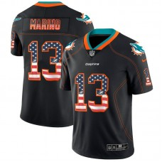 Men Miami Dolphins 13 Marino Nike USA Flag Fashion Black Color Rush Limited NFL Jersey