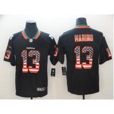 Men Miami Dolphins 13 Marino Nike USA Flag Fashion Black Color Rush Limited NFL Jerseys
