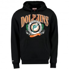 Men Miami Dolphins Mitchell Ness Fair Catch Pullover Hoodie Black