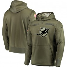 Men Miami Dolphins Nike Olive Salute To Service KO Performance Hoodie Green