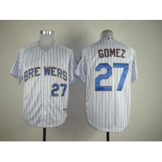 Men Milwaukee Brewers 27 Gomez White Stripe MLB Jerseys
