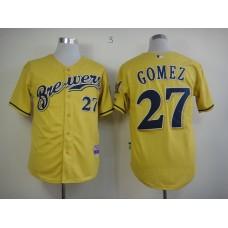 Men Milwaukee Brewers 27 Gomez Yellow MLB Jerseys