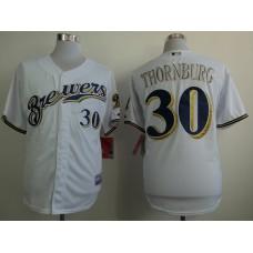 Men Milwaukee Brewers 30 Thornburg White MLB Jerseys