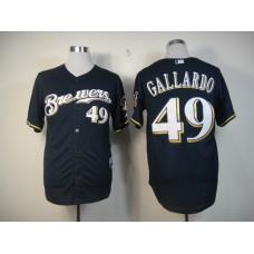 Men Milwaukee Brewers 49 Gallardo Blue MLB Jerseys