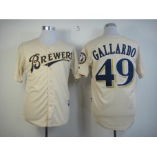 Men Milwaukee Brewers 49 Gallardo Cream MLB Jerseys