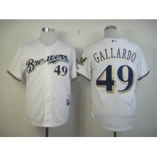 Men Milwaukee Brewers 49 Gallardo Whtie MLB Jerseys