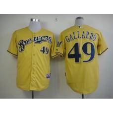Men Milwaukee Brewers 49 Gallardo Yellow MLB Jerseys