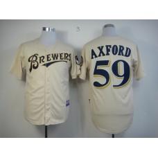 Men Milwaukee Brewers 59 Axford Cream MLB Jerseys