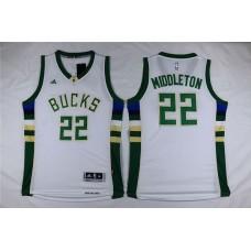 Men Milwaukee Bucks 22 Middleton White Adidas NBA Jersey