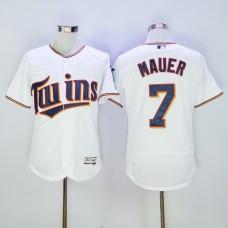 Men Minnesota Twins 7 Mauer White MLB Jerseys