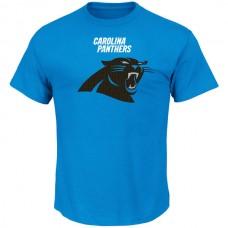Men NFL Carolina Panthers Majestic Critical Victory TShirt Blue