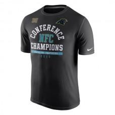 Men NFL Carolina Panthers Nike 2015 NFC Conference Champions Arch Legend TShirt Black
