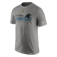 Men NFL Carolina Panthers Nike 2015 NFC Conference Champions Trophy Collection Locker Room TShirt Charcoal