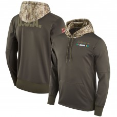 Men NFL Miami Dolphins Nike Olive Salute To Service Hoodie Green