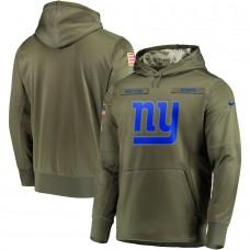 Men New York Giants Nike Olive Salute To Service KO Performance Hoodie Green