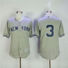 Men New York Yankees 3 No name Grey MLB Jerseys
