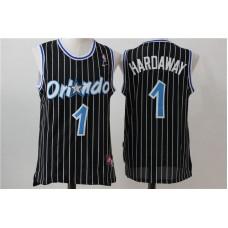 Men Orlando Magic 1 Hardaway Black Stripe Throwback NBA Jersey