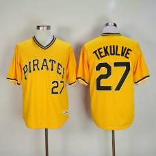 Men Pittsburgh Pirates 27 Tekulve Yellow Throwback MLB Jerseys