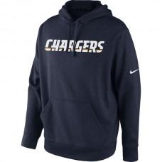 Men San Diego Chargers Nike KO Wordmark Performance Hoodie Navy Blue