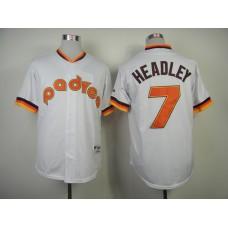 Men San Diego Padres 7 Headley White Throwback 1984 MLB Jerseys