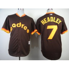 Men San Diego Padres 7 Headley brown Throwback 1984 MLB Jerseys