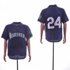 Men Seattle Mariners 24 Griffey Blue Throwback MLB Jerseys