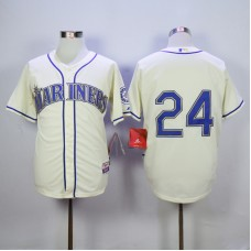 Men Seattle Mariners 24 Griffey Cream MLB Jerseys