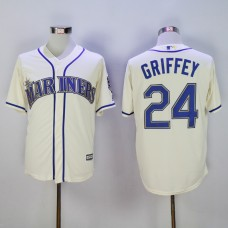 Men Seattle Mariners 24 Griffey Cream Throwback MLB Jerseys