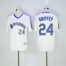 Men Seattle Mariners 24 Griffey White Throwback 1984 MLB Jerseys