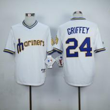 Men Seattle Mariners 24 Griffey White Throwback MLB Jerseys